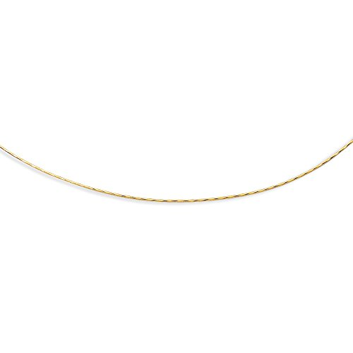 14K Yellow Solid Gold Round Omega 1.5mm Chain 18