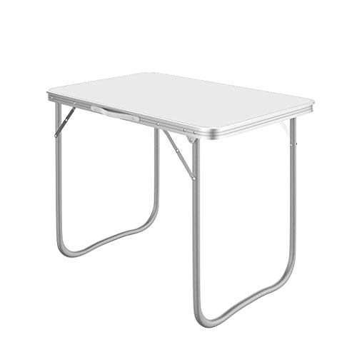 WJL Picnic Table Outdoor Folding Dining Table, Conference Table, Portable Outdoor Camping Trestle Picnic Party Garden Barbecue Veneer Folding Desk Three Size (Color : White, Size : 60CM)