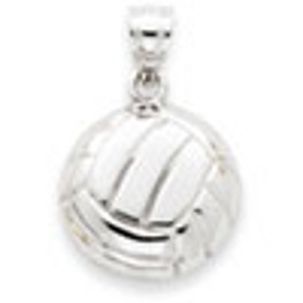 14 ct 585/1000 Or Or Blanc Satin & Diamant -Coupe Volleyball-Charme-Pendentif