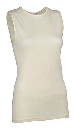 Neck Cami (Rosette Women's Sleeveless Undershirt - Cotton - High Neck, Full shoulder design Ivory X-Large)
