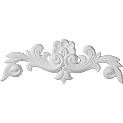 - Ekena Millwork ONL10X04X01BN 10 5/8-Inch W X 3 7/8-Inch H X 5/8-Inch P Benson Flowing Leaves Center with Scrolls Onlay