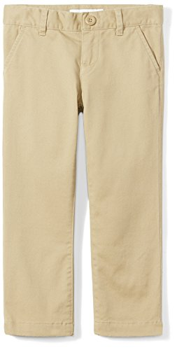 Amazon Essentials Toddler Girls' Flat Front Uniform Chino Pant, Khaki, 3T