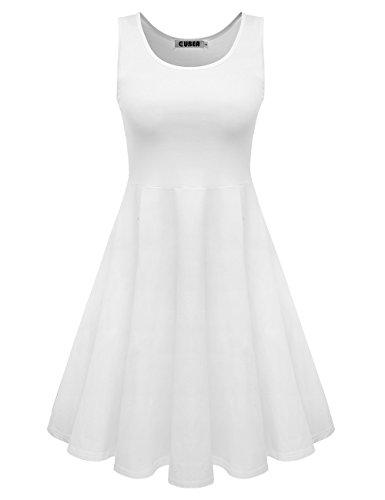 CUBEA Women Basic Cotton Tank Sleeveless Flared Mini Dress (Medium, White) (Teen Sexy Dress)