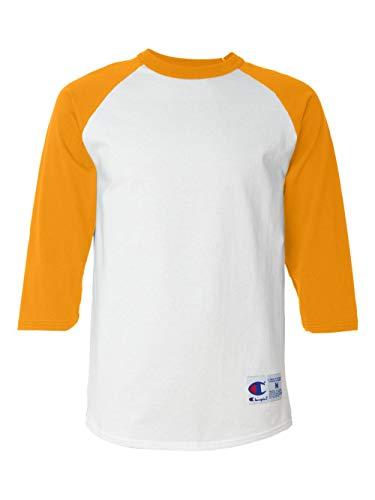 (Champion Men's Raglan Baseball T-Shirt, White/Gold, XX-Large)