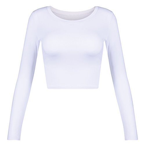 (Women's Basic Round Neck Long Sleeve Crop Top (White, X-Small))
