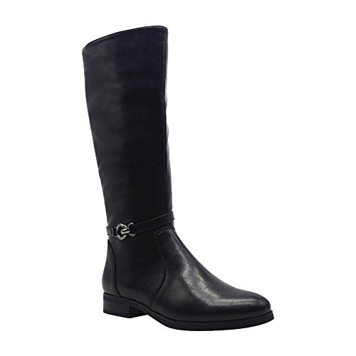 Angelina Women's Vegan Leather Ankle Strap Mid Calf Equestrian Riding Boots Black (Strap Riding Boots)