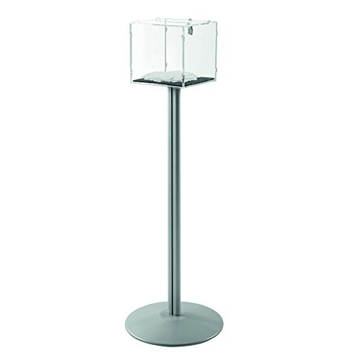 (Freestanding Tumble Ballot Giveaway Box (Clear Floor Standing Ballot Box Acrylic Case and Silver Aluminum Stand) 8.5