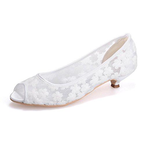 Evening yc Encaje Sandals 12 Tacones amp; Boda Confort L Fine Altos 0700 Cierre White De Seda Toe OxqYpCwd