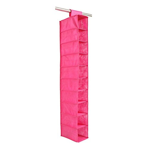 MOOUS Hanging Shoe Storage Organizer Closets Foldable 10 Pocket Hanging Shoe Shelves Non Woven Hanging Wardrobe Storage Organizer Bag for Clothes Lingerie Socks Toys Pet Supplies (Rose)