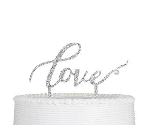 (LOVE Cake Topper for Wedding Party Decorations Silver)