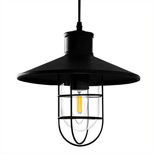 Hyperikon Barn Pendant Lamp, One Light and Cage, Industrial Pendant Lighting, Black, E26, Hardwired Rustic