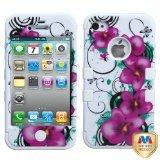 MYBAT IPHONE4AVHPCTUFFIM014NP Premium TUFF Case for iPhone 4 - 1 Pack - Retail Packaging - Morning Petunias/Solid White