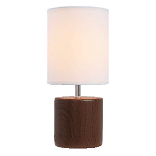 Light Accents 12230TL-27 Bedroom Side Ceramic Table Lamp, Dark Wood Texture