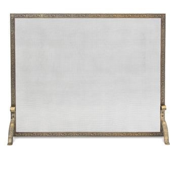 Pilgrim Home and Hearth 18253 Bay Branch Embossed Single Panel Fireplace Screen, Burnished Bronze, 39″W x 31.5″H (Panel Small Single Flat)
