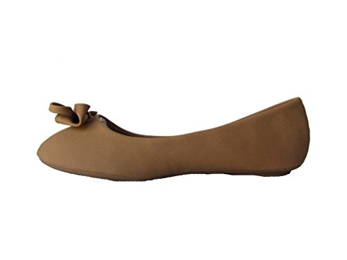 With Lite Faux Suede Ballet Moda Accents Flats Gold Top 1 Womens Tan Nubuck zaxwq