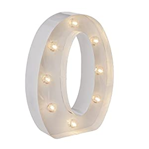 Darice Metal Letter O Marquee Light Up, White