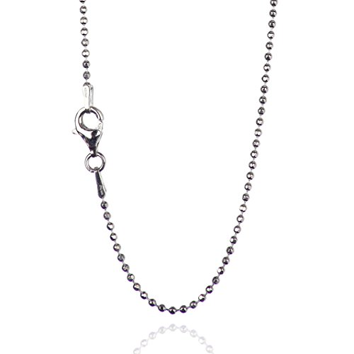 925 Sterling Silver 1.50 mm Diamond-Cut Bead Chain Necklace with Pear Shape Clasp-Rhodium -