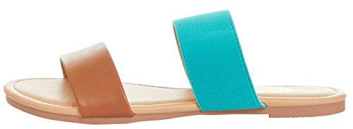Floopi Womens Summer Wide Elastic Slide Flat Sandal (7, Tan/Teal-503) by Floopi (Image #3)