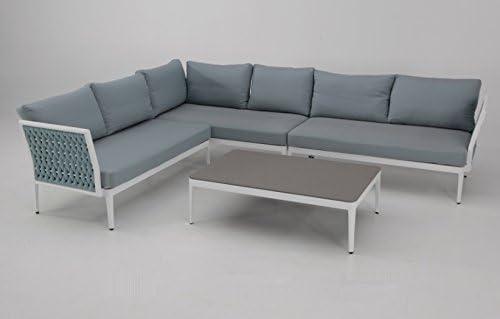Sofa Rinconera terraza aluminio blanco cuerda azul BASEL: Amazon.es: Jardín