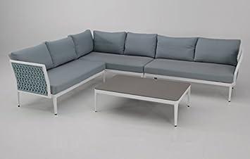 Sofa Rinconera terraza aluminio blanco cuerda azul BASEL ...