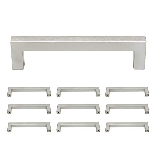 Probrico Stainless Steel Modern Kitchen Cupboard Handles 5 Inch Holes Centers Cabinet Drawer Pulls Brushed Nickel 5.5 Inch Total Length 10 Pack ()