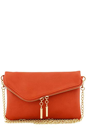 Envelope Wristlet Clutch Crossbody Bag with Chain Strap (Burnt Orange)