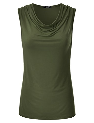 Sleeveless Rayon Top Wrap - EIMIN Women's Cowl Neck Ruched Draped Sleeveless Stretchy Blouse Tank Top Olive M