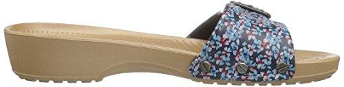 Crocs Sarahgrphcsndl, Sandalias con Cuña para Mujer Blu (Navy/Gold)