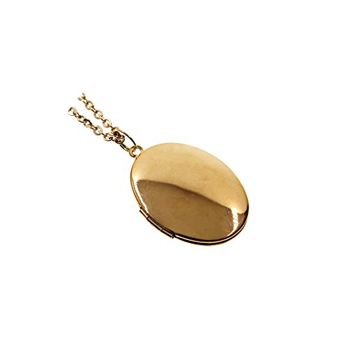 Rose Gold Simple Oval Photo Locket Pendant Charm Necklace 27''