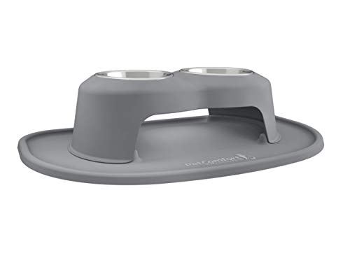 PetComfort Double High Feeding System with XL Mat (6″ Stand, Dark Grey)