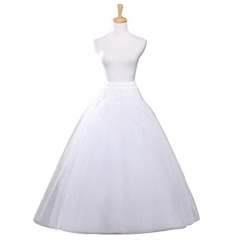 A-line Hoopless Petticoat Crinoline Underskirt Slips 4 Layers Floor Length Ball Gown Skirt for Wedding Dress