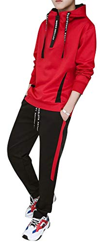 Mstyle Men's Vogue 2 Piece Suit Outfits Pullover Hooded Sweatshirt Casual Jogging Pants Trousers Tracksuit Red XL