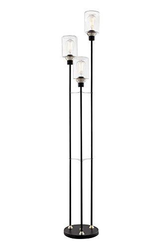 Lite Source Luken Black 3-Light Uplight Floor Lamp Lite Source Lighting Glass Floor Lamp