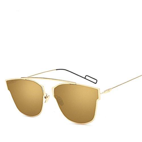 Chahua Lunettes de soleil rétro lunettes de mode lEurope et les femmes lunettes de soleil métal réfléchissant