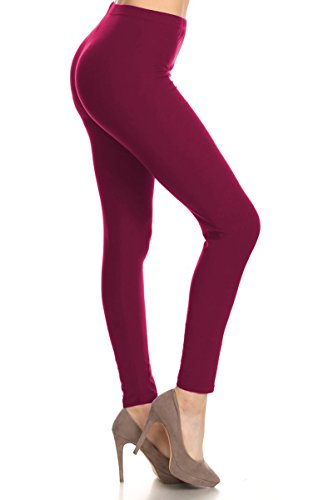 SXL128-Wine Basic Solid Leggings, Plus Size ()