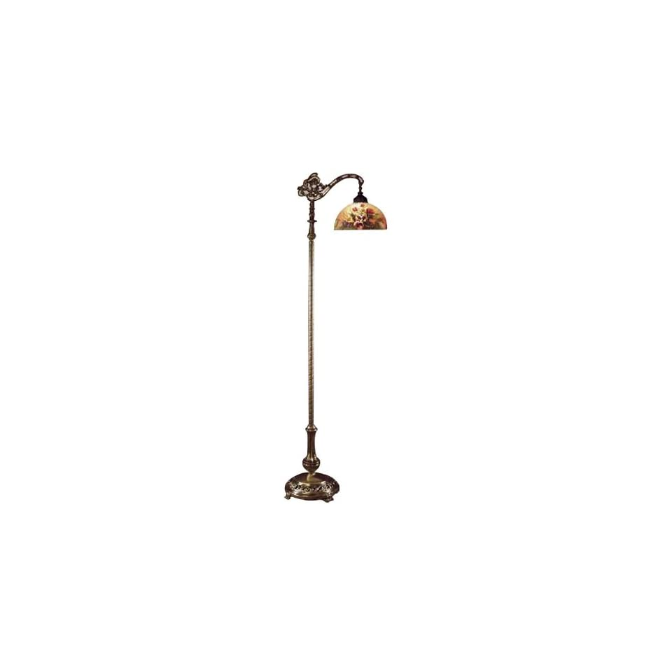 Dale Tiffany 10057/757 Rose Dome Downbridge Floor Lamp, Antique Bronze and Glass Shade