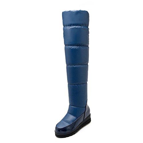 AgooLar Damen PU Überknie Hohe Stiefel Stiefel Rein Ziehen auf Mittler Absatz Stiefel Blau
