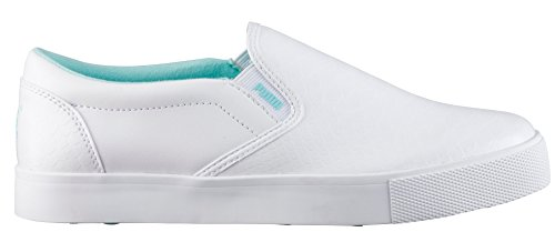 PUMA Women's Tustin Slip-on Golf Shoe, White-Aruba Blue, 10 Medium US