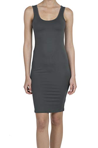 9069 Women's Jersey Sleeveless Scoop Neck Bodycon Midi Tank Dress Charcoal 2XL - Jersey Scoop Neck Dress