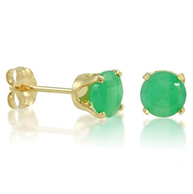 14K Yellow Gold Round Emerald Stud Earrings 5mm