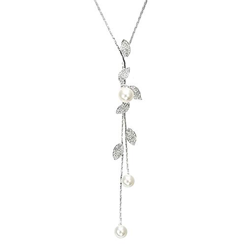 TULIP LY White Crystal Swan Tassel Pendant Necklace Long Sweater Necklace Austrian Crystal Pendant Necklace Fashion Jewelry for Women and Girls (Leaf Pearl Necklace)