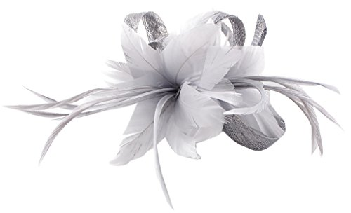 La Vogue Women Small Sinamay Fascinators Feather Flowers Hair Clip Bridal Light Grey