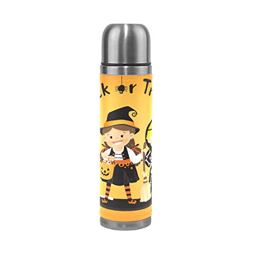 Trick Or Treat in Halloween Water Bottle Stainless Steel Leak Proof Double Walled Vacuum Insulated Travel Coffee Mug Genuine Leather Cover Drink Cup 17 OZ for $<!--$24.99-->