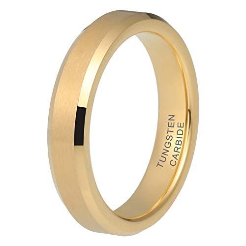 iTungsten 4mm 18K Gold Tungsten Rings for Women Men Wedding Bands Matte Finish Beveled Edges Comfort Fit