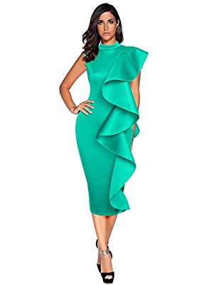 Meilun Womens Sleeveless Patchwork Ruffles Bodycon Vestidos Party Dresses Clubwear