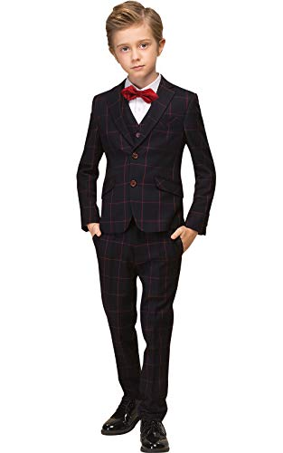 ELPA ELPA Boys Plaid Suit Childrens Slim Fit Formal Suits for Wedding Piano Casual Suits