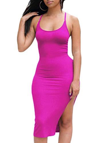 Ninimour Women's Solid Sleeveless Spaghetti Strap Side Slit Bodycon Dress Hot Pink XL (Open Back Pink Dress)