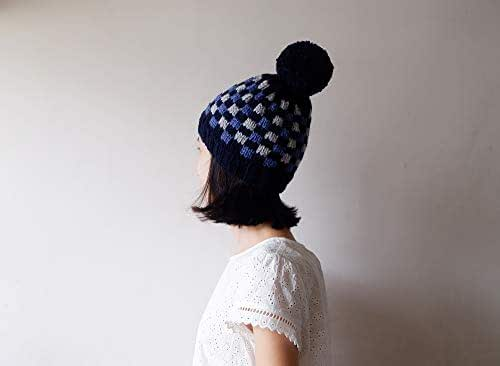 beanie hat yellow navy blue and gray fitted crochet beanie with pom pom