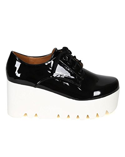 Qupid Women CD18 Patent Round Toe Lace up Lug Sole Oxford Creeper Wedge - Black (Size: 9.0)