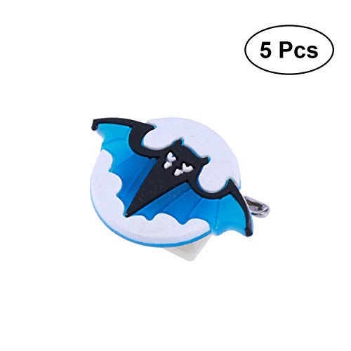 AMOSFUN 5PCS Halloween Flashing Brooch Pins LED Brooch Kids Party Supplies Flashing Light Brooch (Bat)